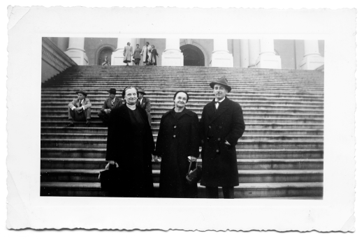 Sadie Greider, Grandma Fannie Longenecker and Ray Longenecker  on steps of the Capitol in Washington, D. C.