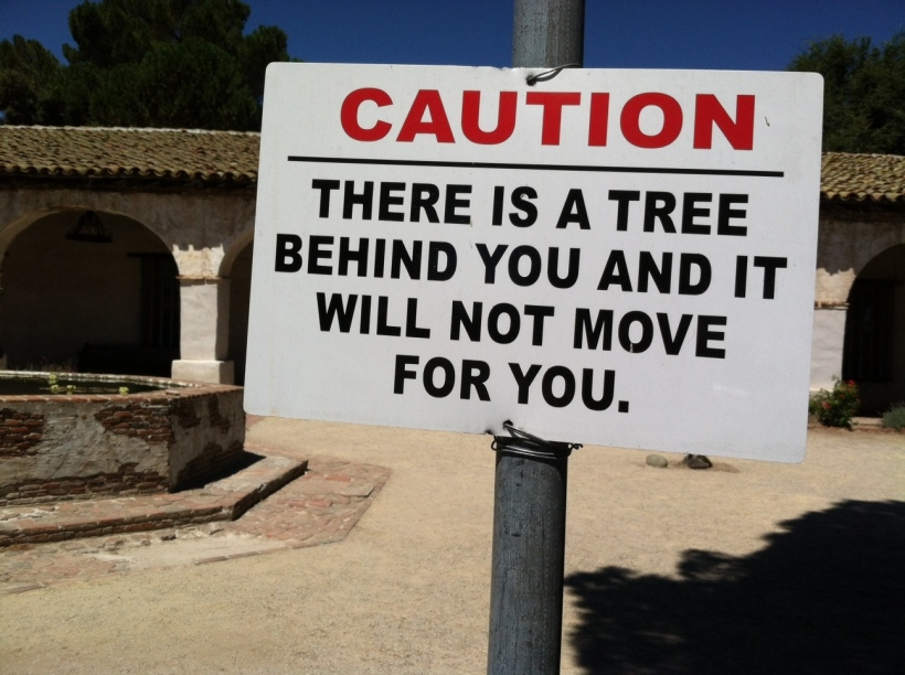 Mission San Miguel, sign in parking lot