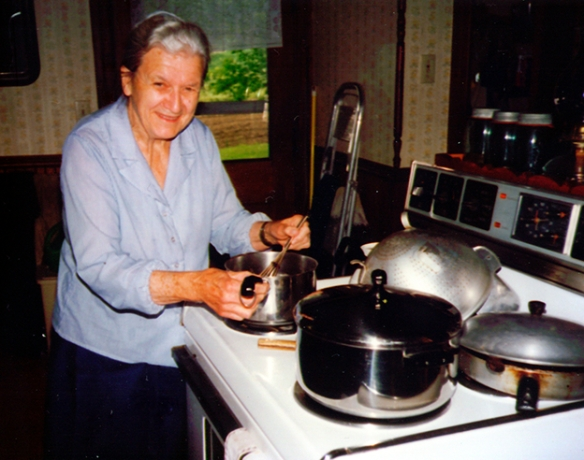 Aunt Ruthie (approx. age 75) busy in the kitchen, 1990s