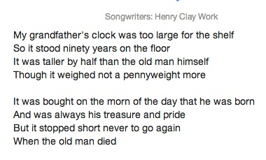 Grandfather'sClock lyrics