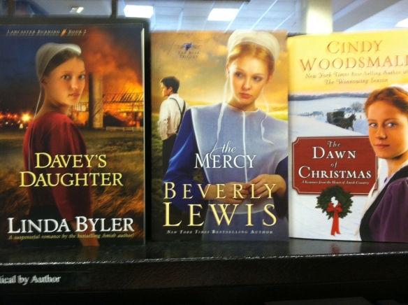 Photo at Barnes & Noble Bookstore featuring authors Beverly Lewis, Cindy Woodsmall, and Linda Byler, the only Amish novel writer who is herself a member of the Old Order Amish