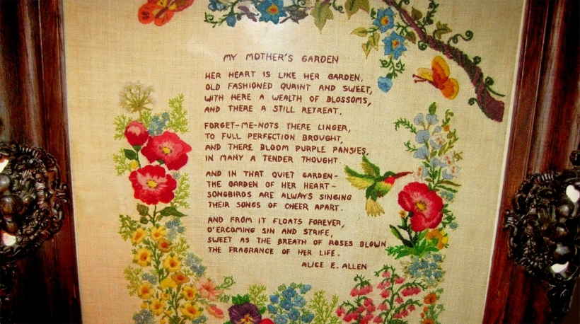 My Mother's Garden, an embroidered poem