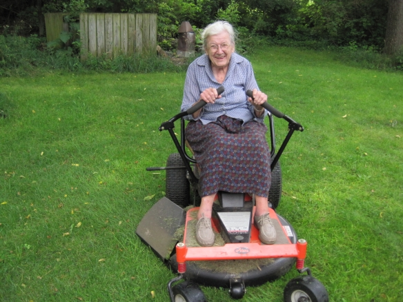 Aunt Ruthie age 89 mowing an acre of lawn