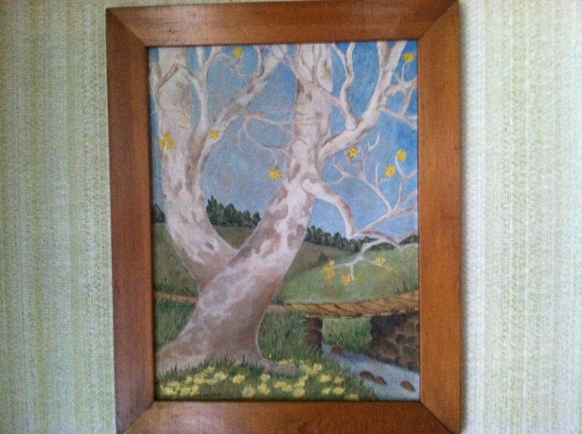 (White birch?) Sycamore tree and bridge along lane leading up to the Martin farm Oil painting by Ruth Martin Longenecker