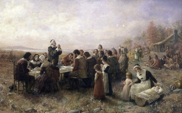 The First Thanksgiving at Plymouth by Jennie A. Brownscombe (1914) Courtesy Wikipedia
