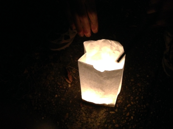 White paper bag glowing from within