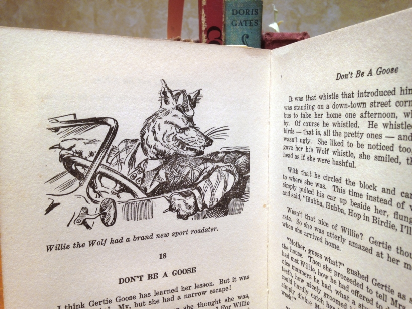 Willie the Wolf in roadster tries to seduce Gertie Goose