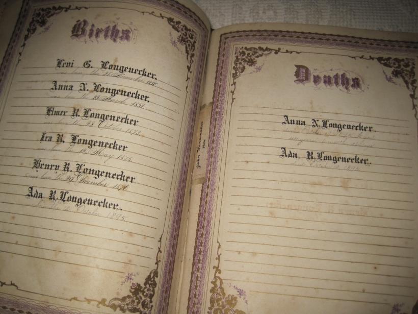 Henry Risser Longenecker, my Grandfather, son of Levi Longenecker, listed in the family Bible.