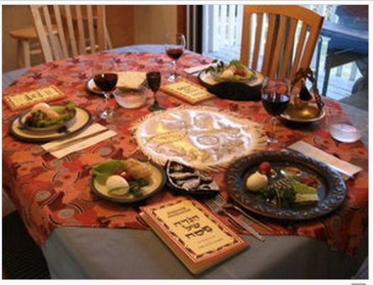 Seder table setting courtesy Wikipedia