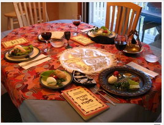 Seder table setting courtesy Wikipedia