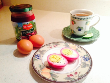 Hard-boiled eggs pickled in beet juice
