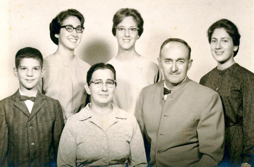 Longenecker family portrait circa 1961: Mark, Marian, Janice, Jean with parents