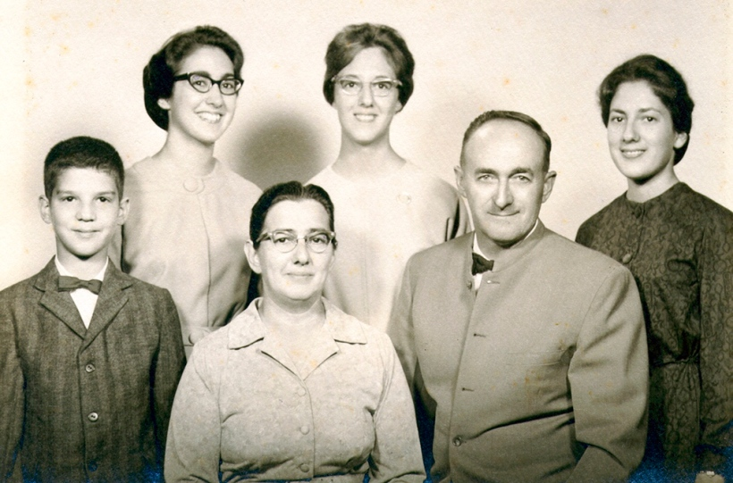 Longenecker family portrait circa 1961: Mark, Marian, Janice, Jean with parents