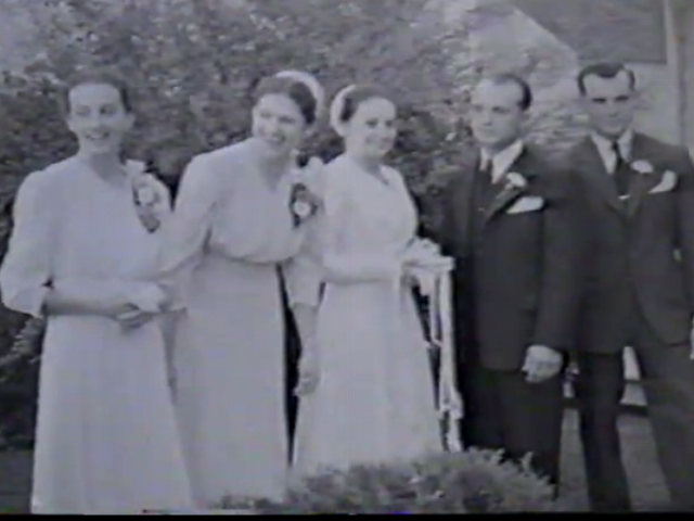 Anna Mae Longenecker with her sisters on her wedding to Hiram Aungst.