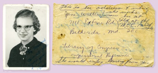 Jane and a note from my mother who saw her in Harrisburg at the MCC (Mennonite Central Committee) relief sale.