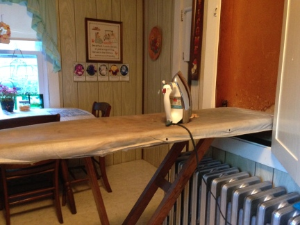 Same ironing board with vintage iron