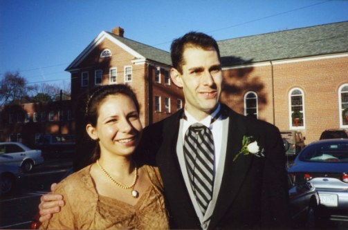 Joel with wife Sarah at cousin's wedding