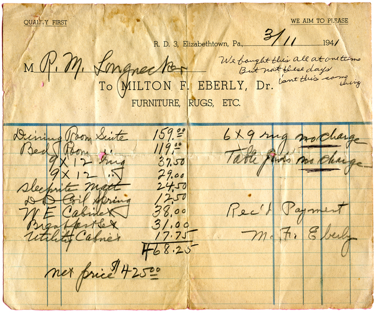 Eberly Furniture receipt_150