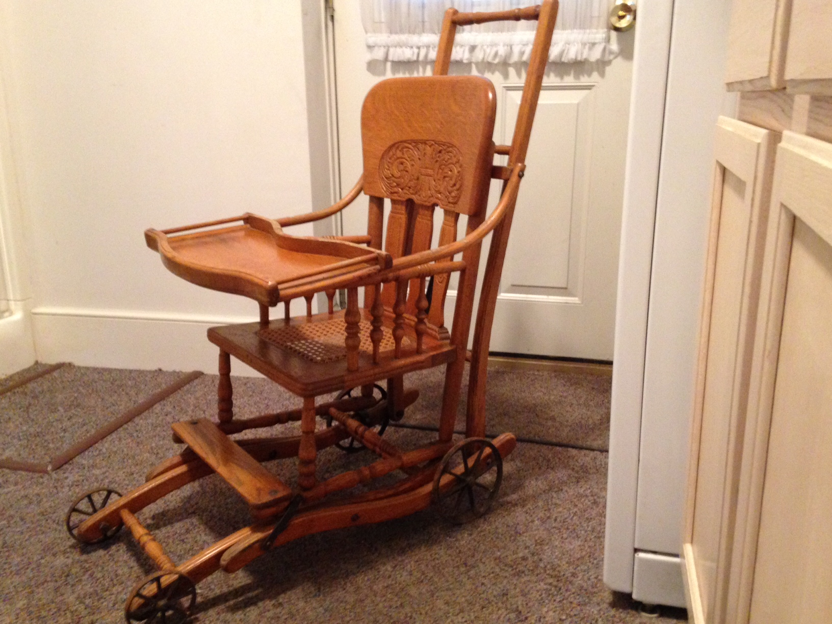 Antique high chair converts to rocking chair - Mother Was The First Daughter In The Family After Four Brothers So She Is The Fifth In Her Family To Use The Chair It Is Vintage However And Probably