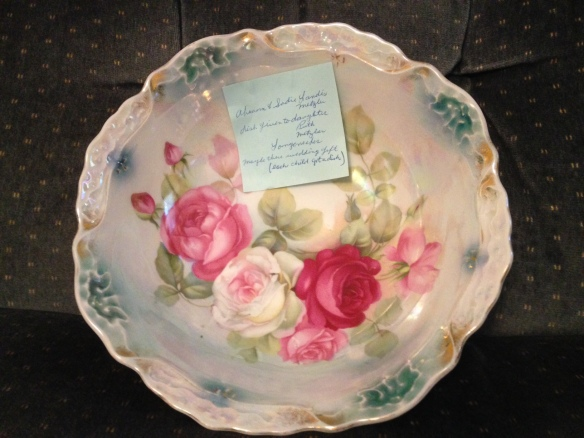 Dish given to my mother from her parents, Abram and Sadie Metzler on her wedding day