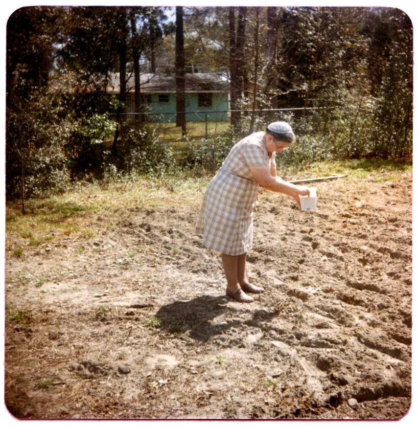Mother Ruth Longenecker sowing seeds in Florida
