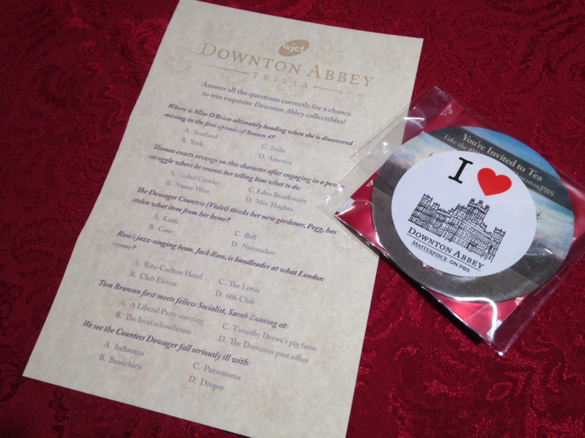 With souvenir tea bag and an invitation to join in the #BIGsip with #DowntonPBS