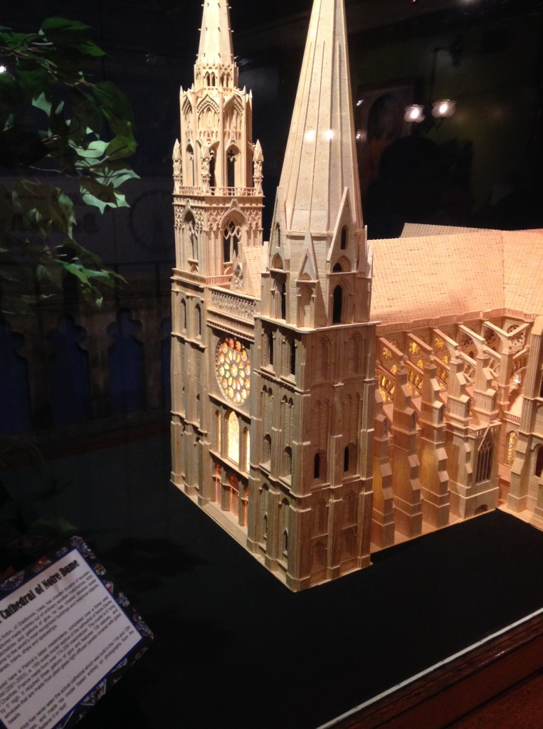 Model of Notre Dame Cathedral constructed of 160,000 match sticks