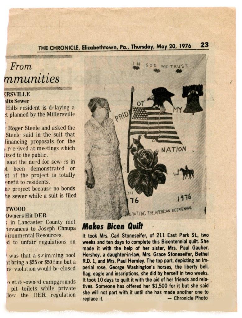 1976_0520_The Chronicle_Elizabethtown_Bicentennial Quilt