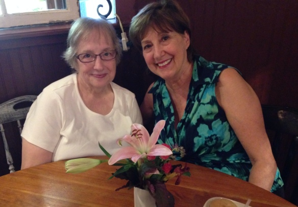 Gladys and Marian having early supper at Blue Rooster in Waynesville, NC before elk-spotting