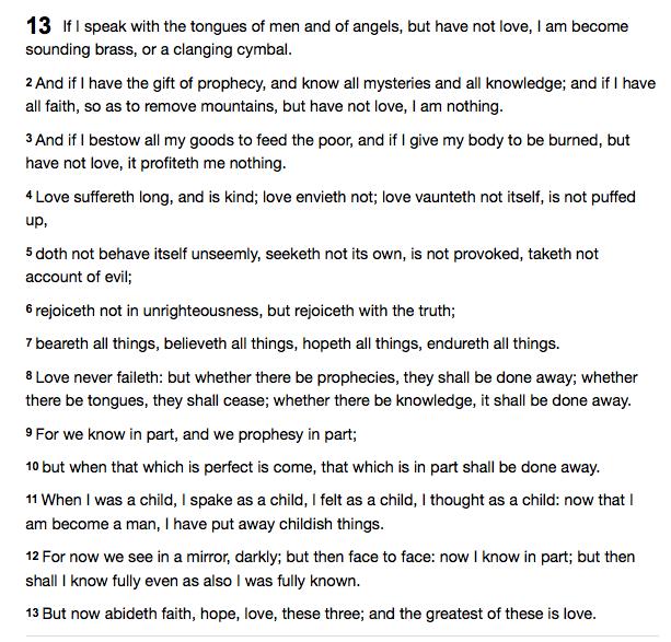 I Corinthians 13, American Standard Version