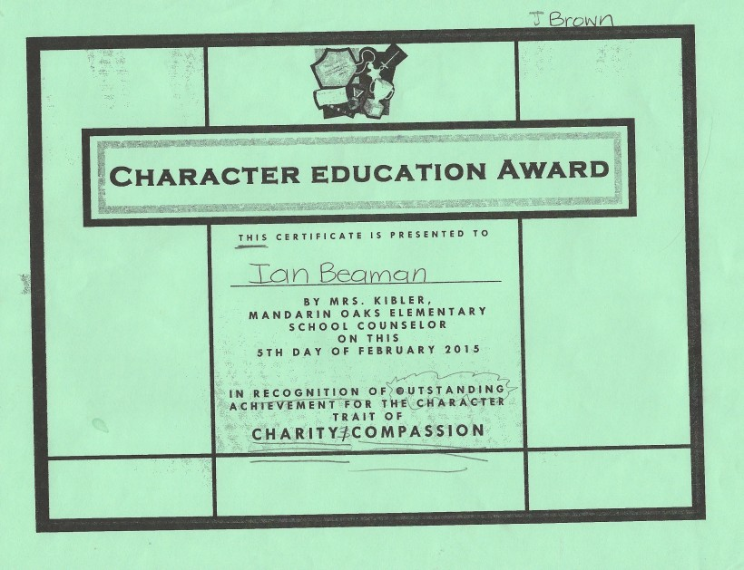 Ian: Character trait of Charity & Compassion