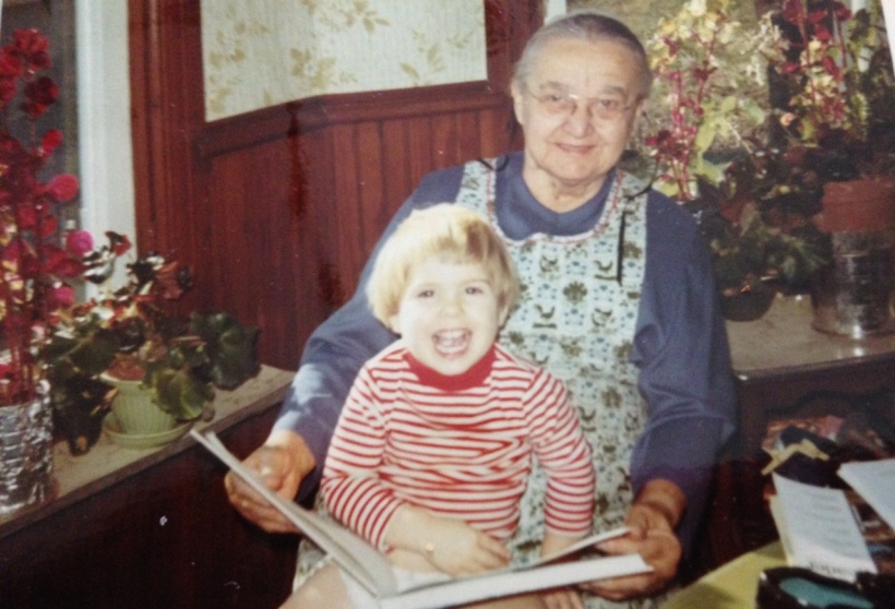 The joy of reading: Great Grandma Longenecker and Crista, age 3