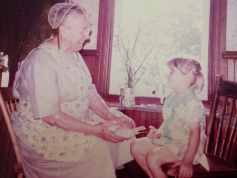 The joy of reading: Great Grandma Longenecker and Crista, age 4