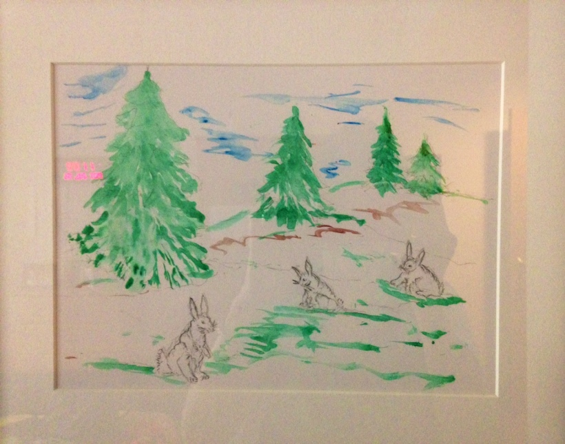 Bunnies with trees - neon image a reflection of wall date/time reminder