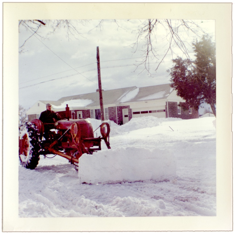 Ray Longenecker, my dad, plowing Anchor Road, 1961