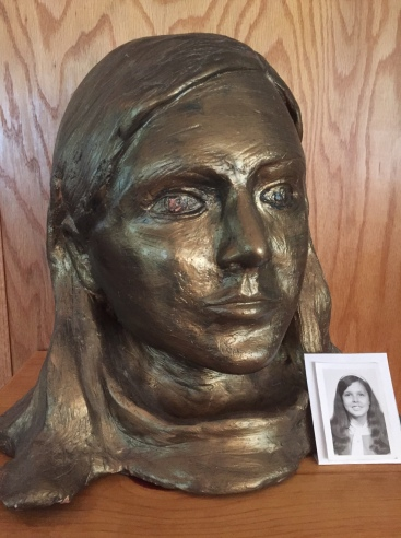 Bronzed bust of Cliff's student at Norwood Elementary School, 1966
