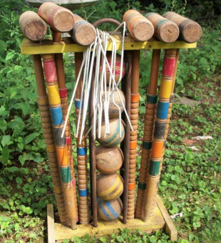 Vintage Lawn Croquet with wooden mallets and balls - Google Advanced Image