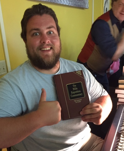 Matt joyfully received a set of expository Bible commentaries. Part of the thrill on his face may be explained by the fact he is getting married soon.