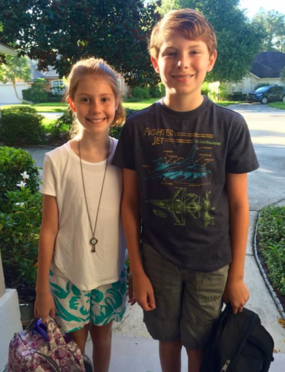 Jenna and Patrick Dalton on their first day of school at Mandarin Middle School, book bags de rigeur (2016-2017 academic year)
