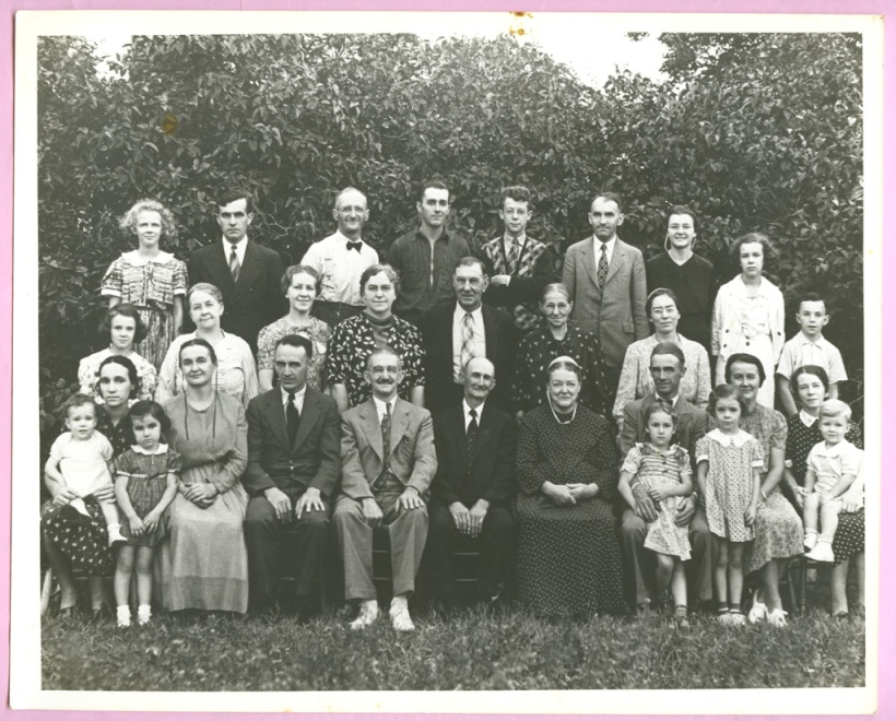 The Martin-Horst-Longenecker Freindschaft, circa 1938 Both in back row: My dad Ray Longenecker with zippered sweater and Aunt Ruthie on right with cape dress and white covering strings