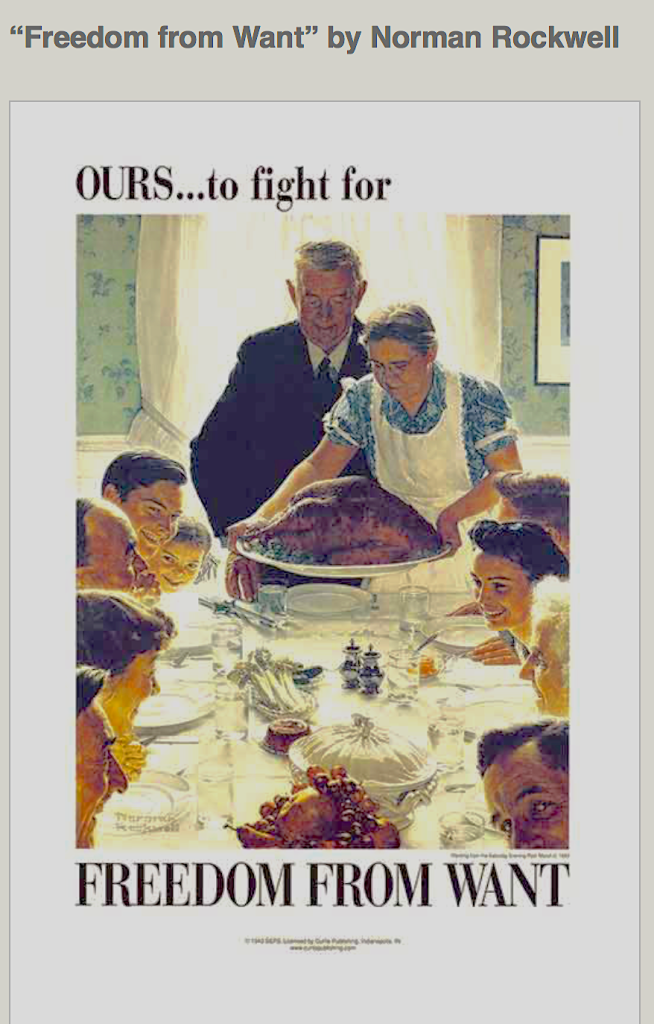 Freedom from Want, Four Freedoms Series - Norman Rockwell Courtesy Wikipedia