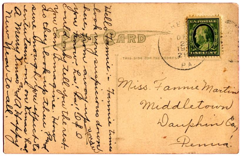 postcardladydrawing1911tofanny
